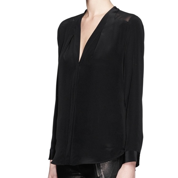087c1981c4cfcd Sandro Paris Black Silk Blouse New! Size 3 M